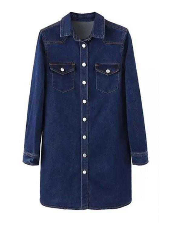 online Deep Blue Denim Turn Down Collar Long Sleeve Dress - DEEP BLUE XS
