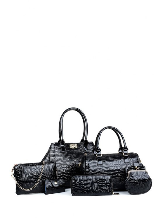 new Crocodile Print Hasp Solid Color Shoulder Bag - BLACK