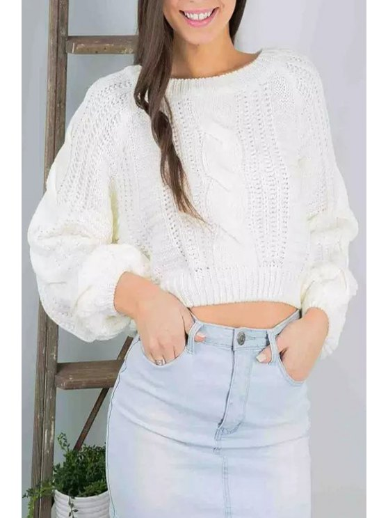trendy White Scoop Neck Long Sleeve Jumper - WHITE ONE SIZE(FIT SIZE XS TO M)