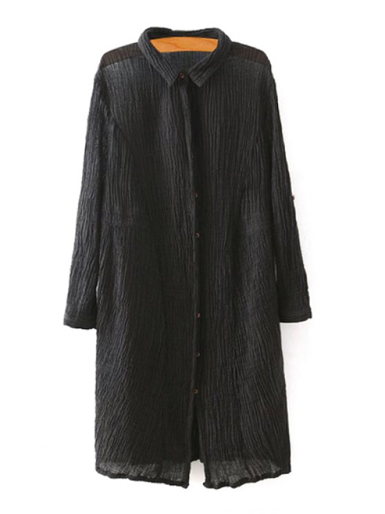 latest Pleated Turn Down Collar Long Sleeves Shirt - BLACK ONE SIZE(FIT SIZE XS TO M)