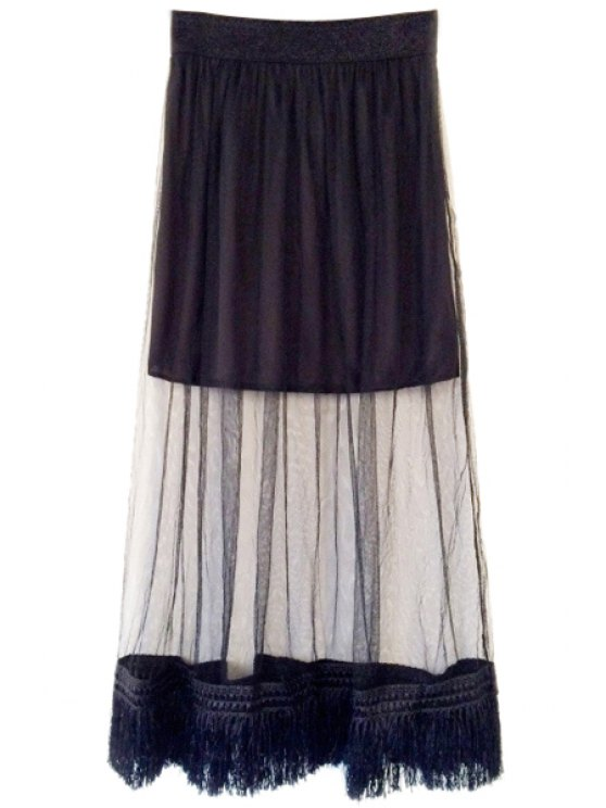 shop Tassels See-Through Voile Skirt - BLACK ONE SIZE(FIT SIZE XS TO M)
