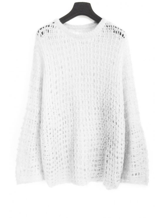 trendy Solid Color Openwork Sweater - WHITE ONE SIZE(FIT SIZE XS TO M)