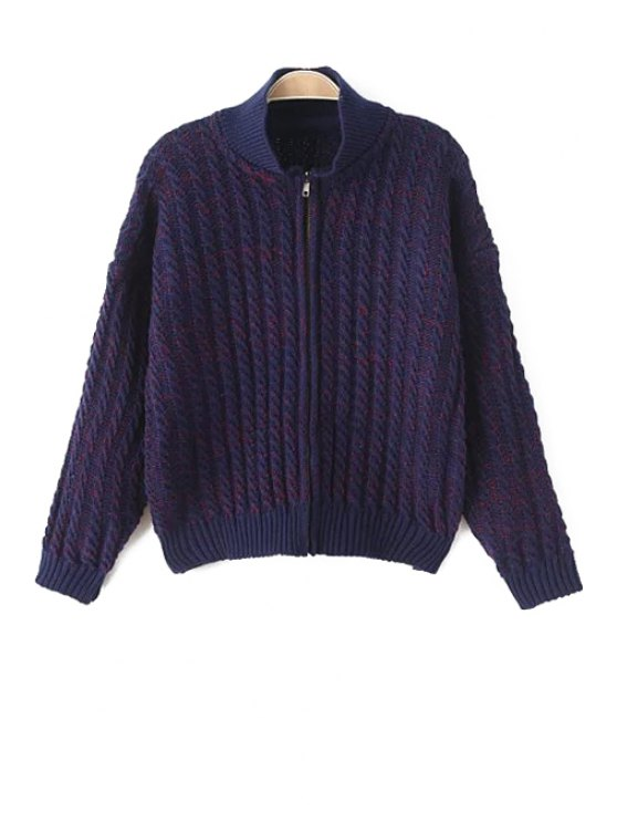 online Stand-Up Collar Color Mixture Plait Cardigan - PURPLE ONE SIZE(FIT SIZE XS TO M)