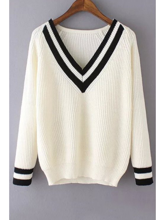 fashion Stripe Spliced V Neck Long Sleeve Jumper - WHITE ONE SIZE(FIT SIZE XS TO M)