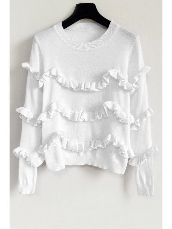 unique Ruffles Solid Color Sweater - WHITE ONE SIZE(FIT SIZE XS TO M)