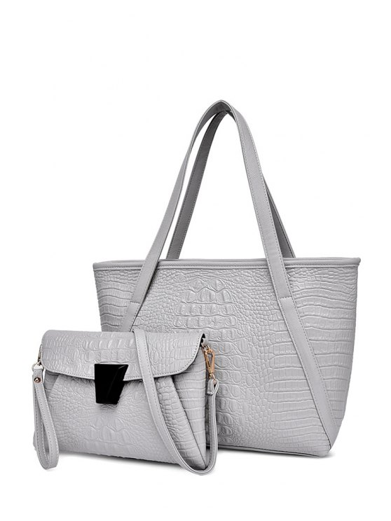 shop Solid Color Crocodile Print Zipper Shoulder Bag - LIGHT GRAY