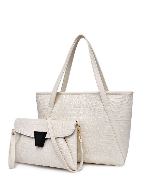 fashion Solid Color Crocodile Print Zipper Shoulder Bag - WHITE