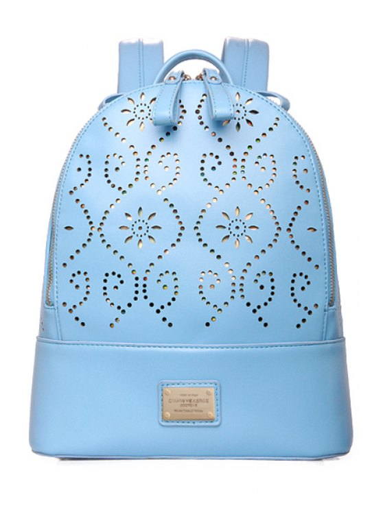 hot Hollow Out Engraving Rivets Satchel - LAKE BLUE