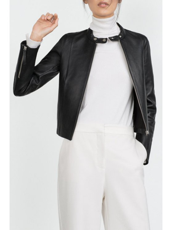 fancy PU Leather Black Stand Neck Jacket - BLACK S