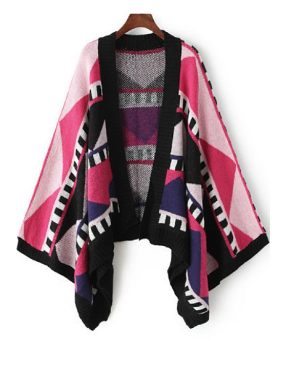 outfits Collarless Color Block Geometric Pattern Cardigan - RED ONE SIZE(FIT SIZE XS TO M)