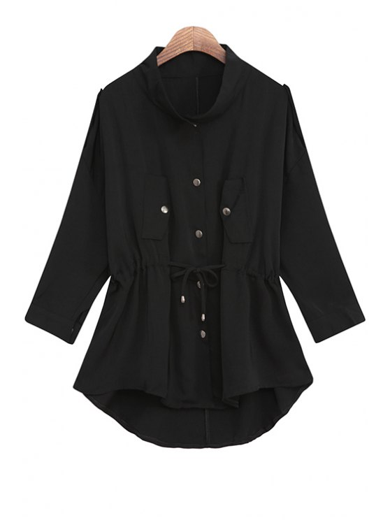 women's Solid Color Stand Collar Waisted Chiffon Trench Coat - BLACK ONE SIZE(FIT SIZE XS TO M)