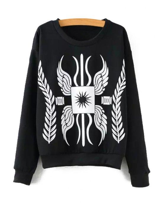 shop Long Sleeve Totem Print Sweatshirt - BLACK S
