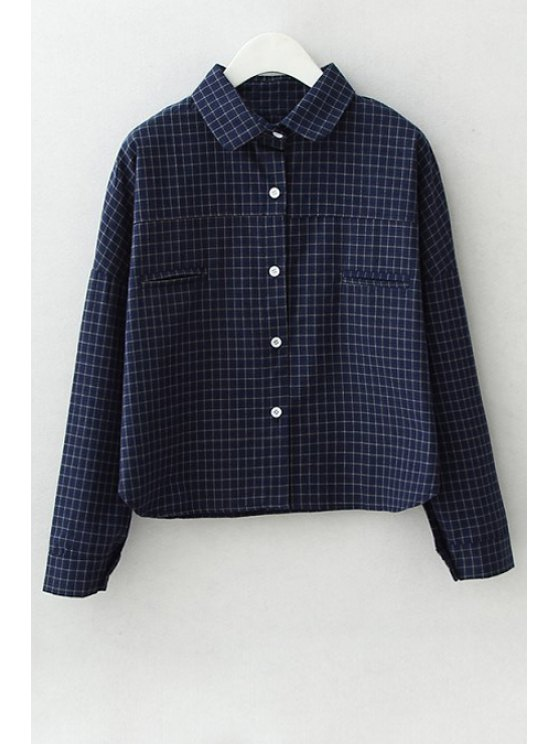 new Polo Collar Checked Long Sleeves Shirt - CADETBLUE S