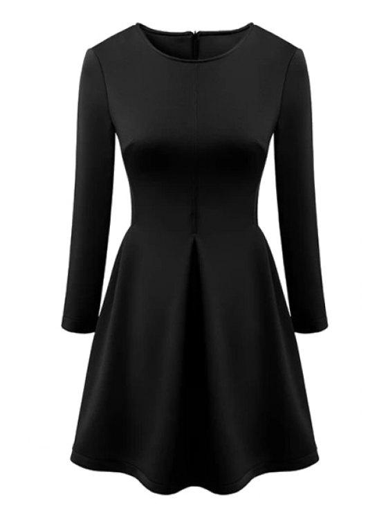sale Pure Color 3/4 Sleeve Flare Dress - BLACK S