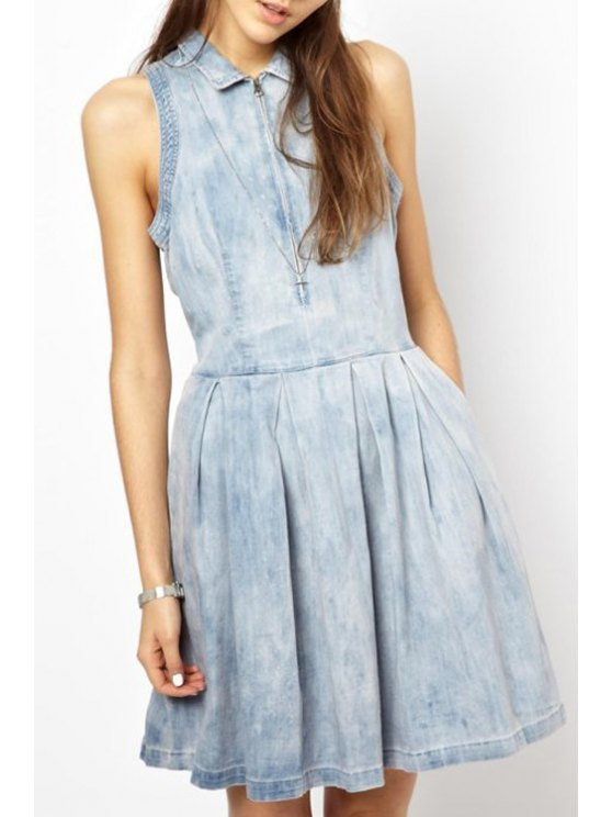 ladies Denim Turn Down Collar Sleeveless Flare Dress - AS THE PICTURE S