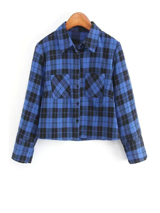 new Blue Plaid Shirt Neck Long Sleeve Crop Top - AS THE PICTURE S