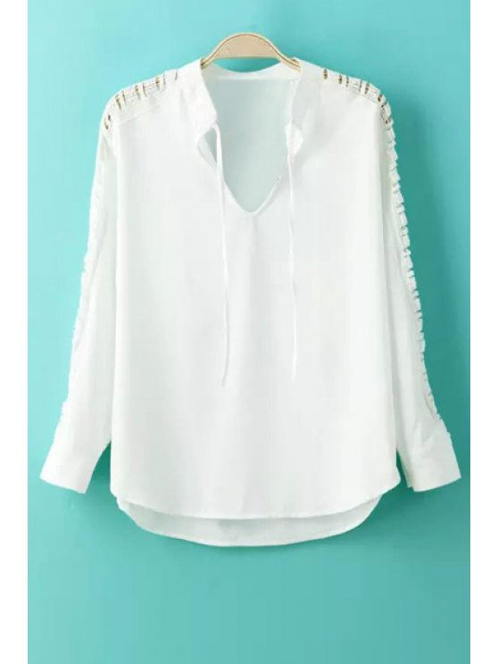 outfits White Hollow Out V Neck Long Sleeve Blouse - WHITE S