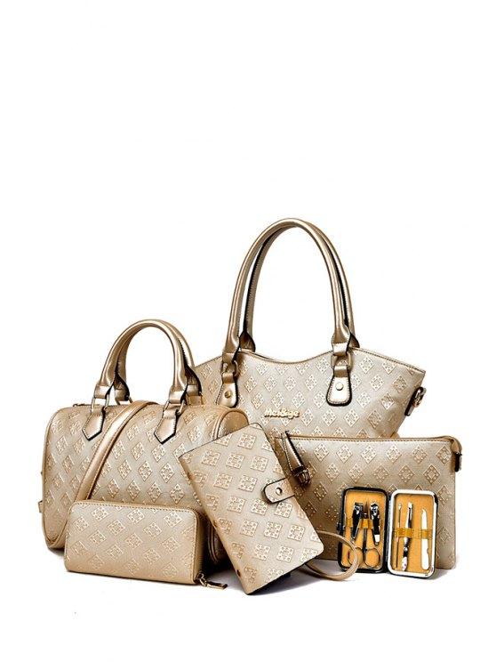 affordable Solid Color Embossing Argyle Shoulder Bag - GOLDEN