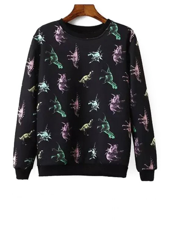affordable Round Neck Dinosaur Sweatshirt - BLACK S