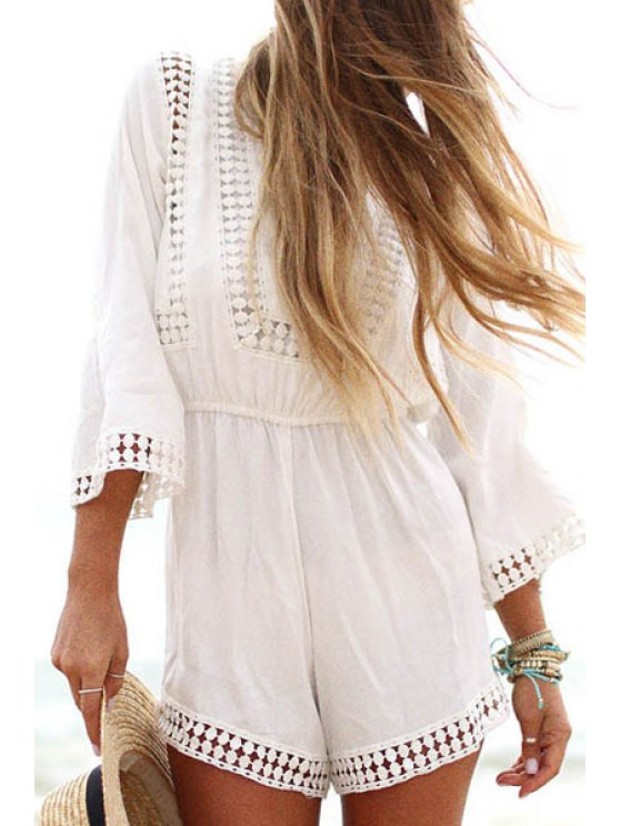 fashion White Lace Splicing 3/4 Sleeve Romper - WHITE S
