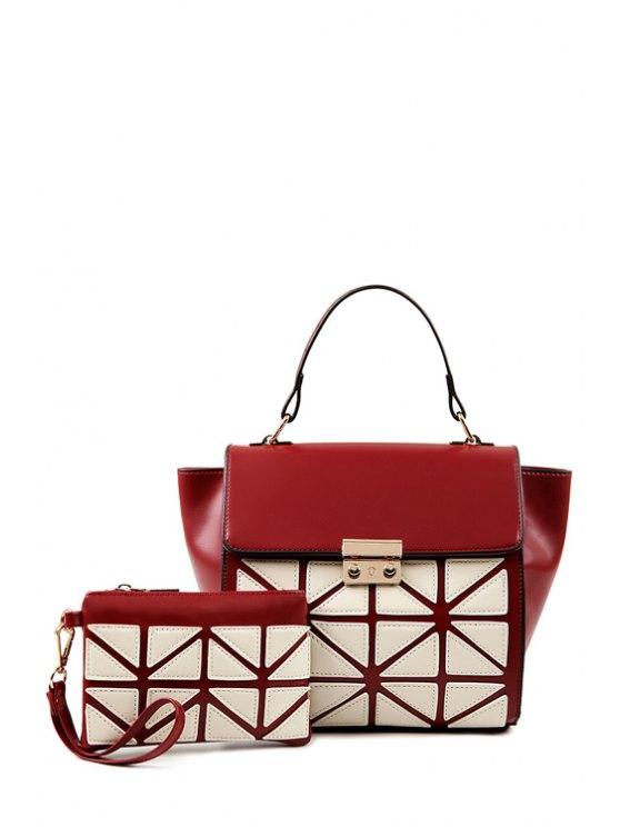 women Color Block Hasp Zipper Tote Bag - WINE RED