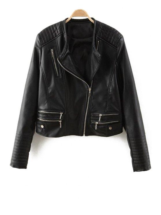 unique Zipper Design Faux Leather Jacket - BLACK S
