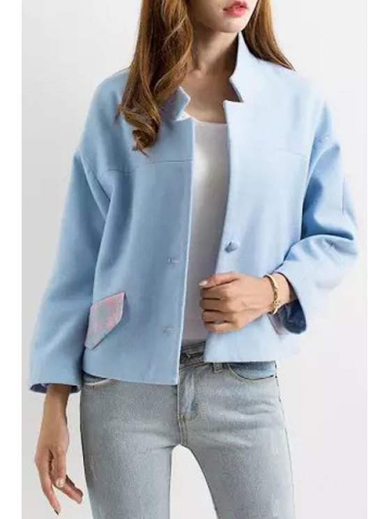 chic Stand Neck Tartan Pattern Wool Jacket - BLUE S