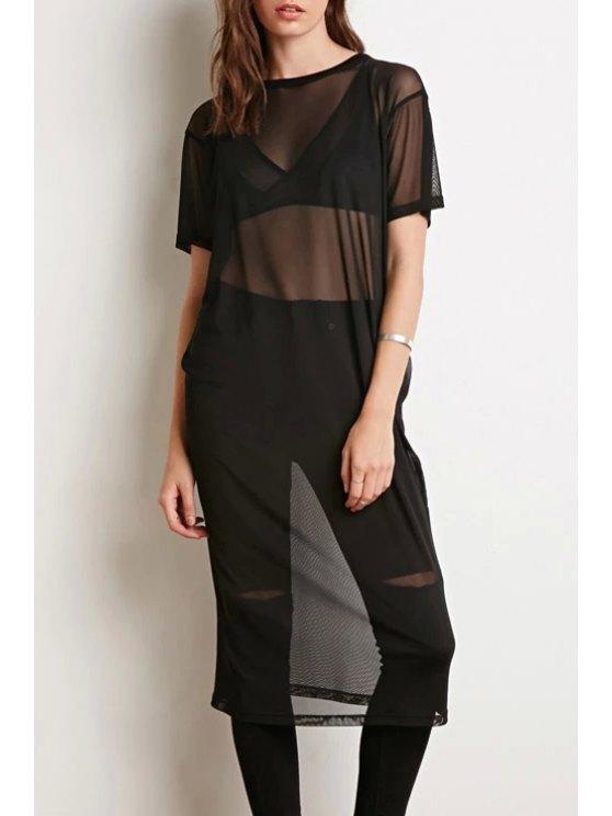sale Jewel Neck See-Through Short Sleeve Dress - BLACK S