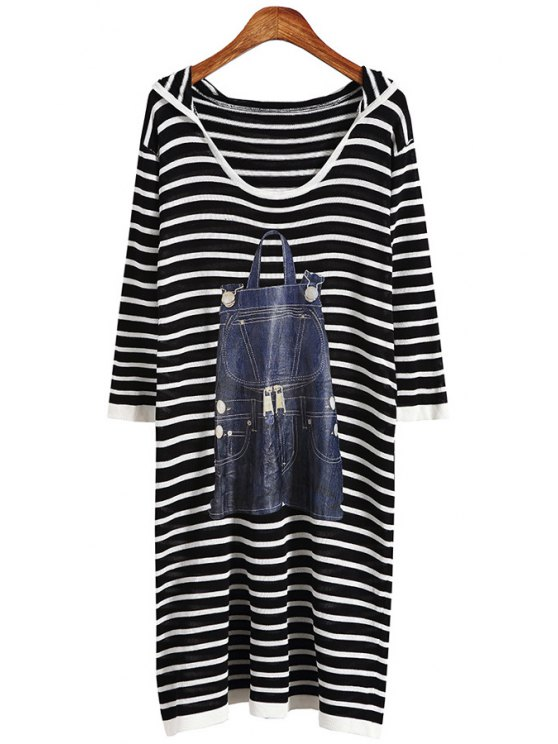 sale Stripes Print Scoop Neck Long Sleeves Sweater Dress - BLACK ONE SIZE(FIT SIZE XS TO M)