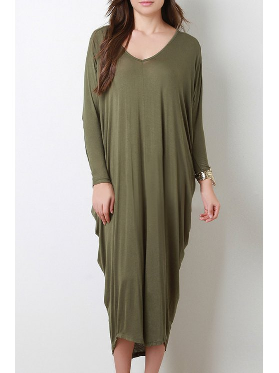 outfits Long Sleeve Baggy Style Dress - BLACKISH GREEN S