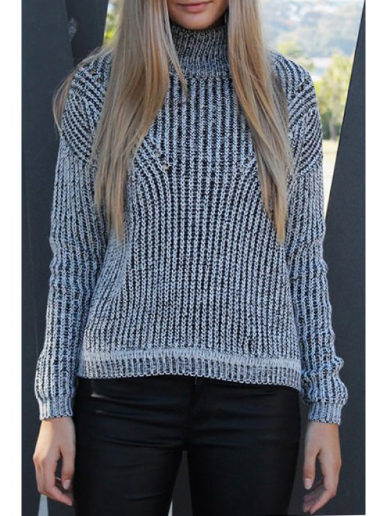 affordable Black White Turtle Neck Long Sleeve Jumper - WHITE AND BLACK ONE SIZE(FIT SIZE XS TO M)