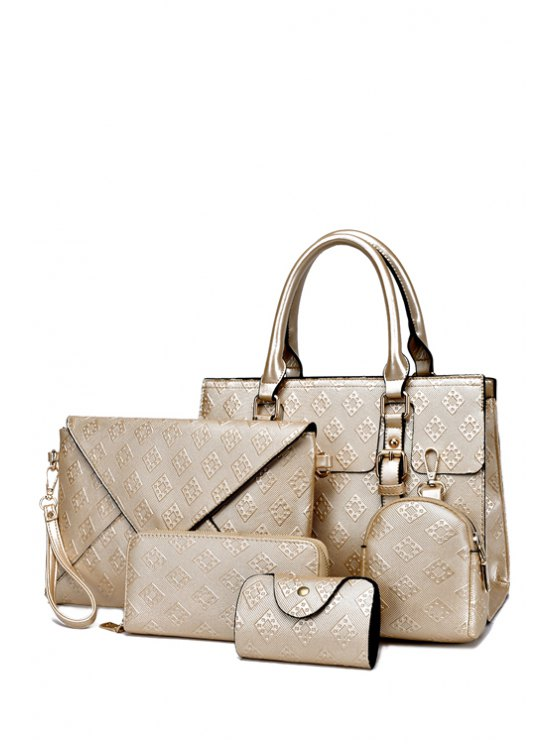 ladies Embossing Double Buckle Argyle Tote Bag - GOLDEN