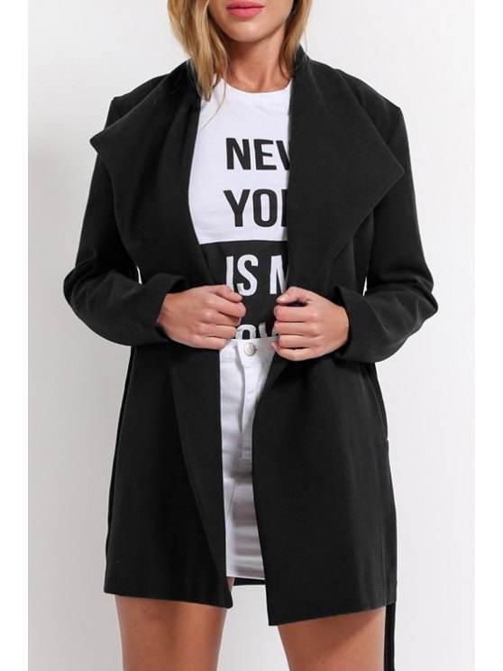 buy Solid Color Worsted Turn Down Collar Coat - BLACK S