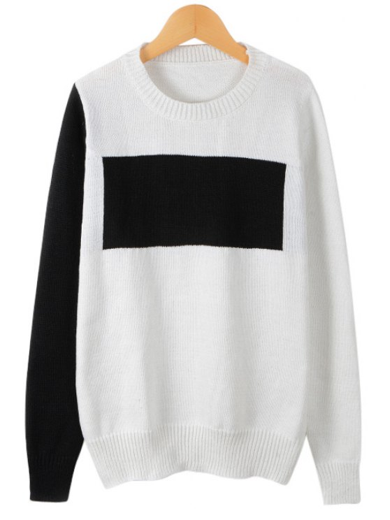 trendy White Black Splicing Long Sleeve Sweater - WHITE ONE SIZE(FIT SIZE XS TO M)