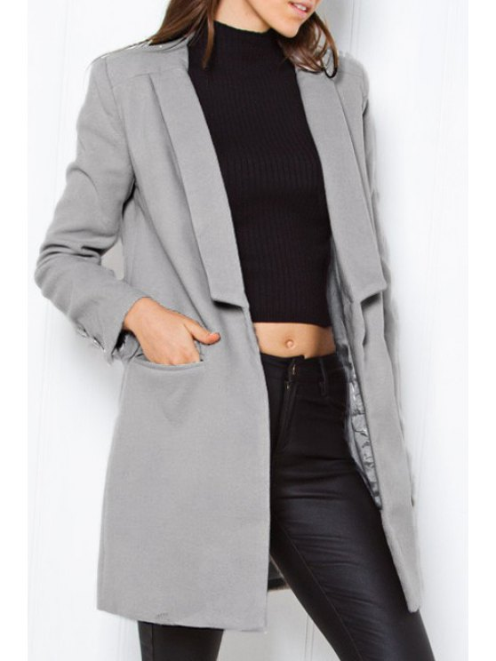 online Turn Down Collar One Button Worsted Coat - GRAY L