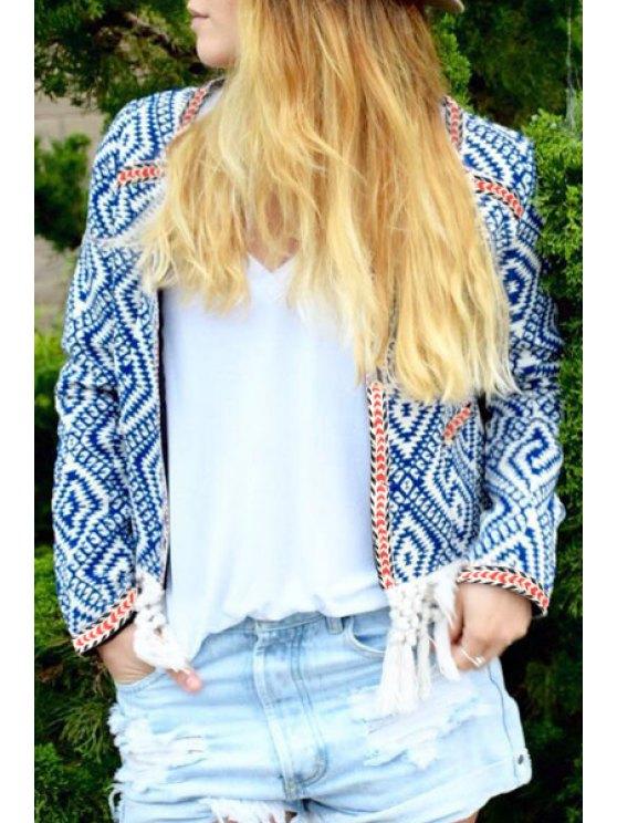 hot Argyle Pattern Scoop Neck Long Sleeve Coat - BLUE AND WHITE S