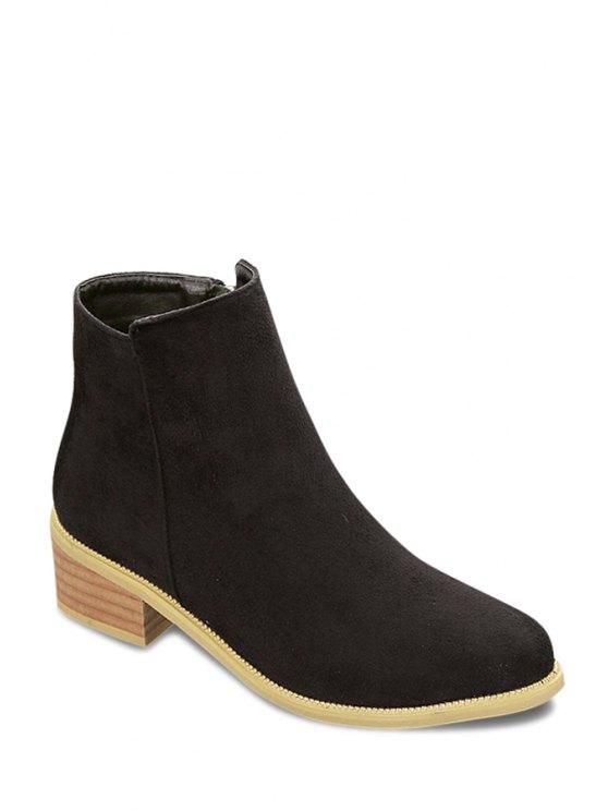 shops Solid Color Zipper Suede Ankle Boots - BLACK 34