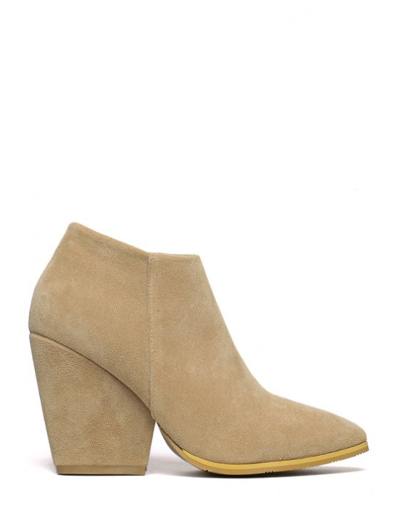 shop Pointed Toe Suede Zipper Ankle Boots - APRICOT 35