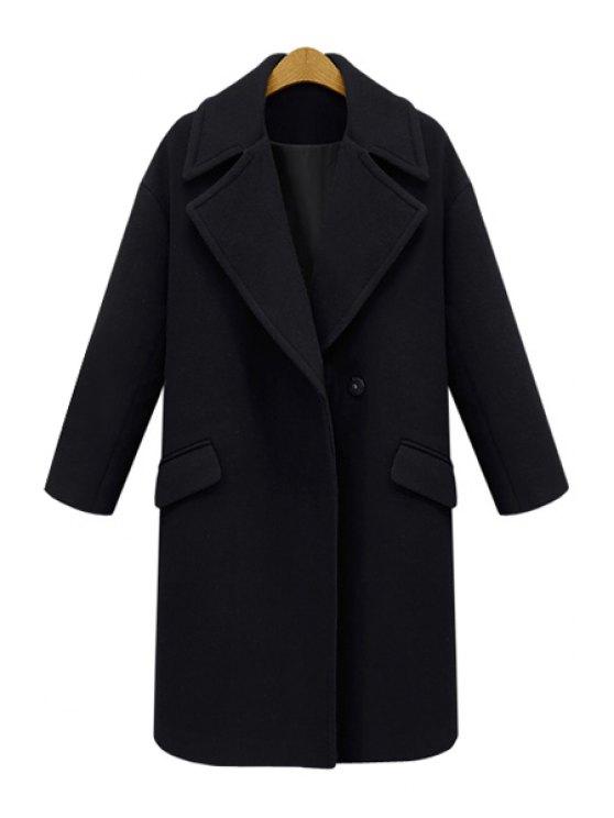 buy Lapel Pocket Design Wool Coat - BLACK XL