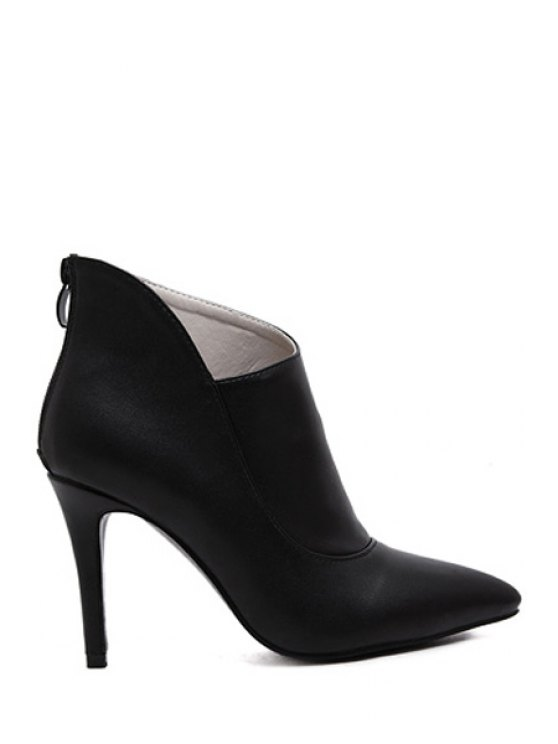 buy Solid Color Stiletto Zipper Ankle Boots - BLACK 34