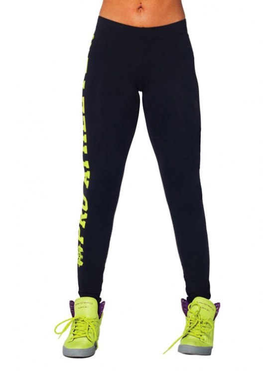 women's Butt Lifter Letter Pattern Skinny Leggings - YELLOW ONE SIZE(FIT SIZE XS TO M)