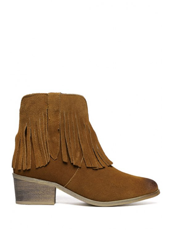 shops Fringe Suede Round Toe Ankle Boots - DEEP BROWN 35
