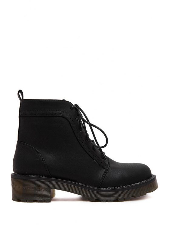 best Lace-Up Solid Color Engraving Combat Boots - BLACK 35