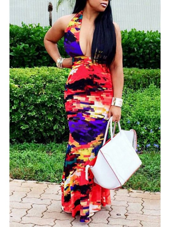 new Halter Neck Colorful Tie Dye Sleeveless Dress - AS THE PICTURE S