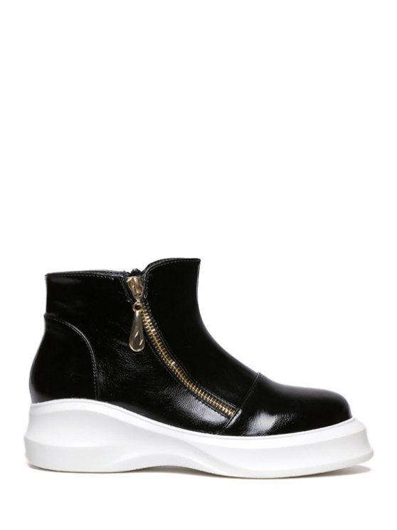 fashion Solid Color Metal Zipper Short Boots - BLACK 34