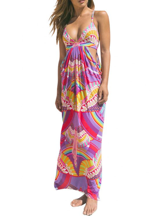 women's Spaghetti Strap Crisscross Colorful Beach Dress - COLORMIX ONE SIZE(FIT SIZE XS TO M)