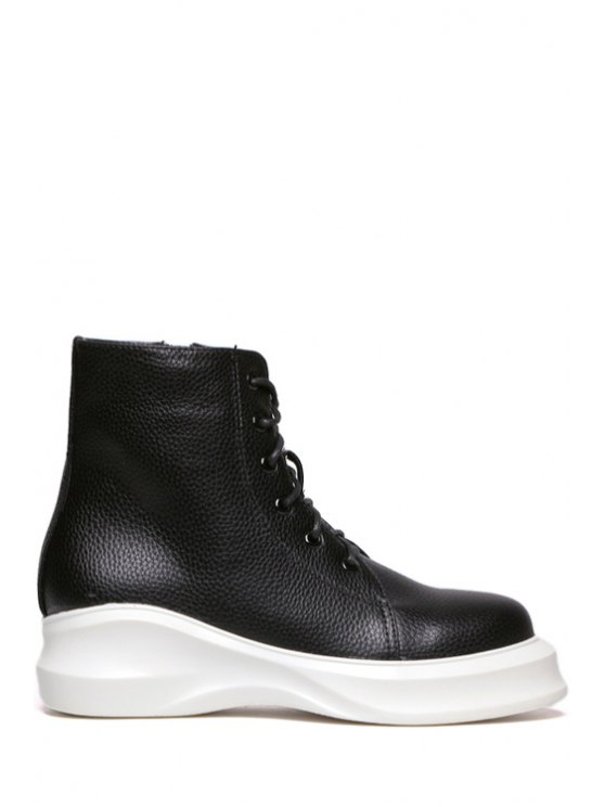 buy Lace-Up Zipper Solid Color Combat Boots - BLACK 34