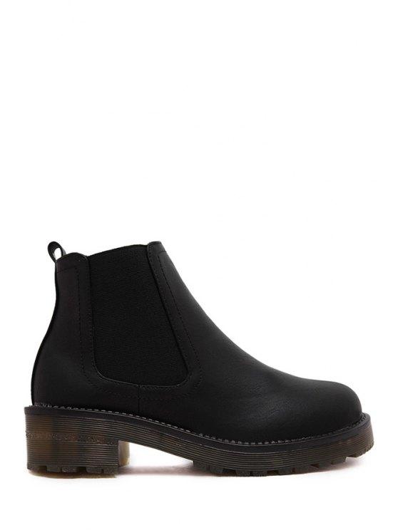 best Elastic Platform Solid Color Short Boots - BLACK 35