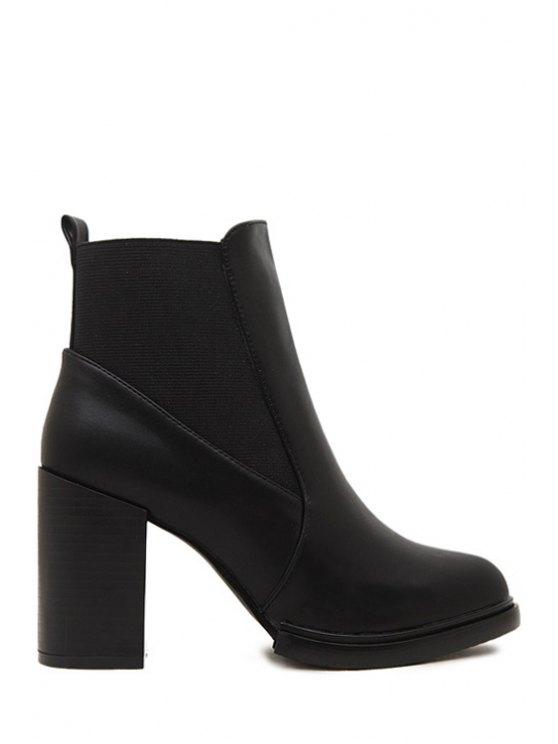 outfits Elastic Splicing Solid Color Short Boots - BLACK 34