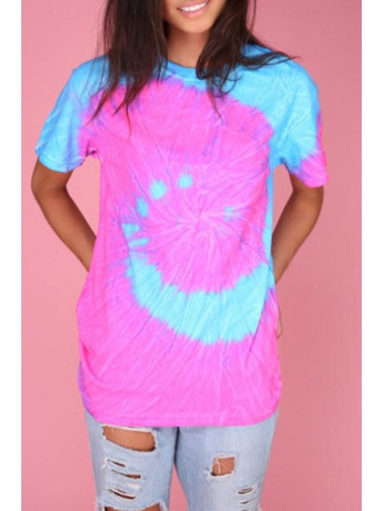 women Color Block Tie Dye Short Sleeve T-Shirt - PEACH RED S